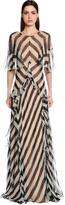Alberta Ferretti Ruffled & Striped Silk Chiffon Dress