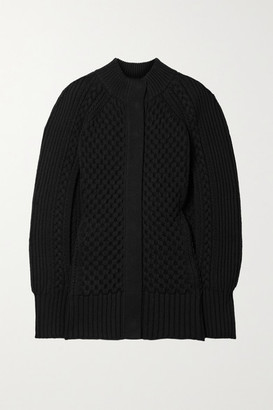 Alexander McQueen Cable-knit Wool And Cashmere-blend Cape - Black