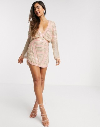 ASOS DESIGN blouson linear embellished mini dress with split sleeve