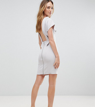 Asos Tall TALL Sexy Open Back Sash Mini Dress-Grey