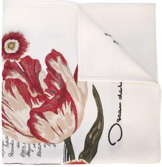 Oscar de la Renta Floral Calligraphy Scarf