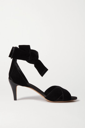 Chloé Chris Bow-embellished Velvet And Patent-leather Sandals - Black