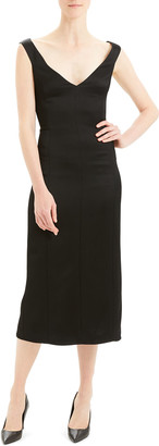 Theory Paneled Off-Shoulder Midi Dress