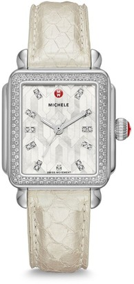 Michele Deco Stainless Steel Mosaic Diamond Snakeskin Strap Watch