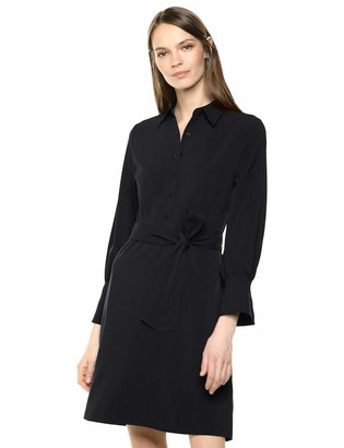 Lark & Ro Amazon Brand Women's Long Sleeve Tie Waist Stretch Woven Shirt Dress