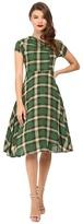 Unique Vintage Cap Sleeve Cut Out Swing Dress