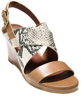Cole Haan Penelope Snake-Print Leather Wedge Sandals
