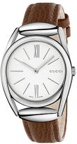 Gucci Diamantissima Stainless Steel Leather Strap Watch