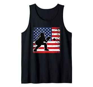 Ladies Softball Catchers Gear Stuff USA Flag Player Mom Gift Tank Top