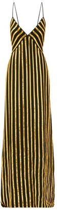 Galvan Pride Sequinned Striped Dress - Black Gold