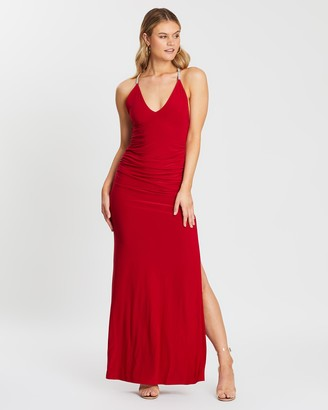 Skiva Cross Strap Evening Dress With Split