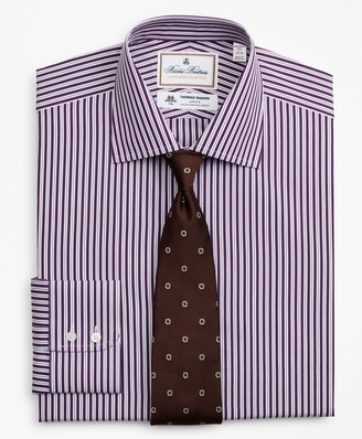 Brooks Brothers Luxury Collection Milano Slim-Fit Dress Shirt, Franklin Spread Collar Double-Stripe