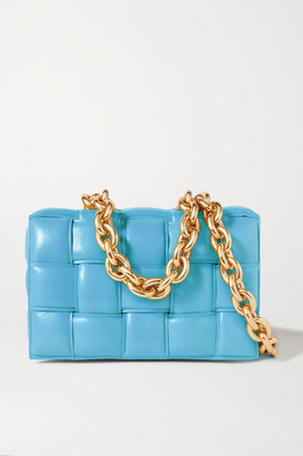 Bottega Veneta Cassette Chain-embellished Padded Intrecciato Leather Shoulder Bag - Blue