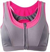 Senchanting Senchaning Zip Front Double Layer Seamless High Impact Workout Yoga Sports Bra (,M)