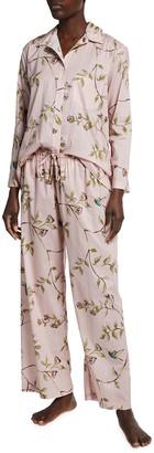 POUR LES FEMMES Hummingbird Printed Cotton Pajama Set