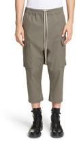 Rick Owens Men's Drop Crotch Crop Cargo Pants