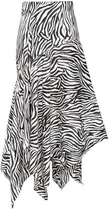 SOLACE London Lonnie zebra-print midi skirt