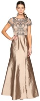 Adrianna Papell Cap Sleeve Necklace Beaded Gown Women's Dress