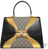 Gucci Osiride Embellished Leather And Coated-canvas Tote - Black