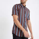 Mens Brown stripe print short sleeve shirt