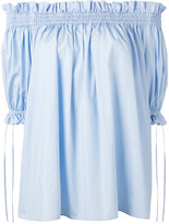Alexander McQueen off the shoulder smocked blouse - women - Cotton - 38