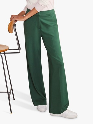 Boden Hamp Ponte Wide Leg Trousers, Palm Leaf