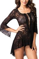 Leg Avenue Black Lace Ruffle Chemise & G-String