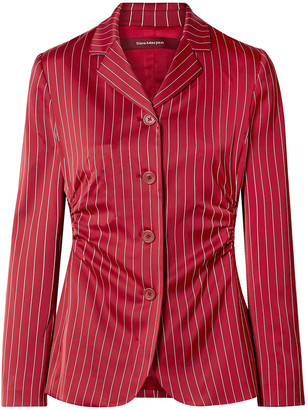 Sies Marjan Greer Ruched Pinstriped Satin Blazer