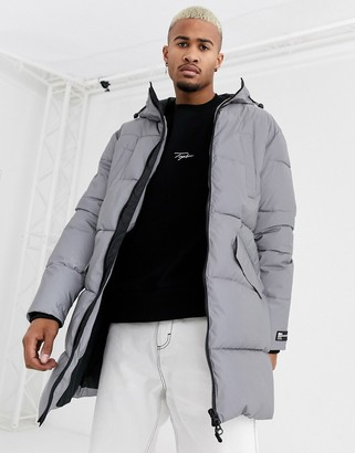 Bershka reflective puffer jacket in grey
