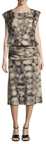Tracy Reese Silk Printed Draped Midi Dress