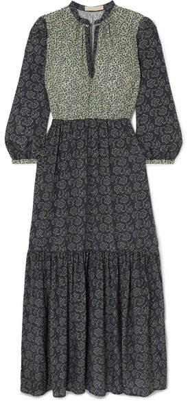 Vanessa Bruno Mabel Tiered Floral-print Crepe Maxi Dress - Blue