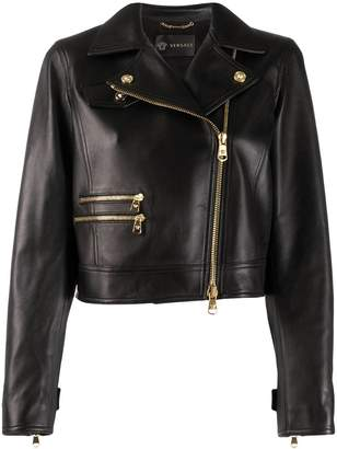 Versace off-centre zipped leather jacket