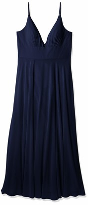 Jenny Yoo Women's Brady V Neck Spaghetti Strap A line Chiffon Dress