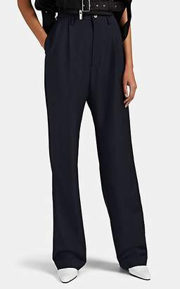 Maison Margiela Women's Worsted Mohair-Wool Pleated Trousers - Navy