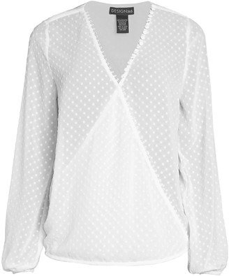 Design History Dotted Faux-Wrap Blouse