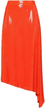 MSGM Asymmetric Sequined Crepe Midi Skirt