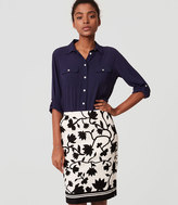 LOFT Petite Floral Print Pencil Skirt