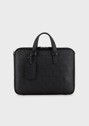 Giorgio Armani Leather Briefcase With Embossed Logo