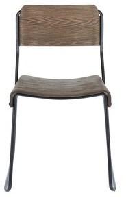Lumisource Dali Industrial Black Metal & Espresso Wood Dining Chair