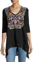 Johnny Was Josephine V-Neck 3/4-Sleeve Tee, Black