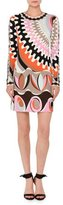 Emilio Pucci Marilyn Printed Long-Sleeve Round-Neck Dress, Orange/Pink