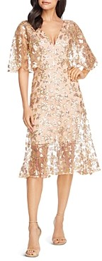 Dress the Population Roseanna Metallic Floral Midi Dress
