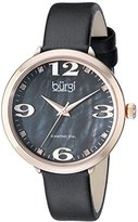 Burgi Women's BUR119BKR Diamond Accented Black Mother-of-Pearl Rose Gold & Black Leather Strap Watch