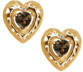 Gem Stone King 0.89 Ct Heart Shape Brown Smoky Quartz and Topaz 18k Yellow Gold Earrings