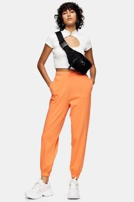 Topshop Womens Orange Fluorescent Joggers - Orange