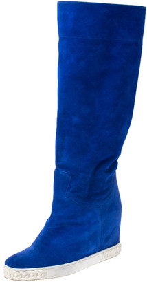 Casadei Blue Suede Knee Length Wedge Boots Size 38