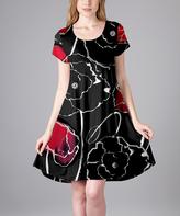 Aster Black Floral A-Line Dress - Plus Too