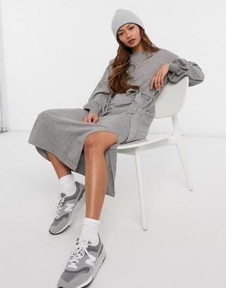 ASOS DESIGN maxi dress with tie waist detail in grey