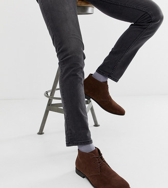 Asos DESIGN Wide Fit Chukka Boots In Brown Faux Suede