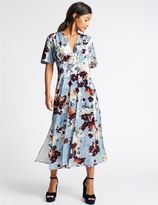 Marks and Spencer Floral Print Velvet Short Sleeve Maxi Dress